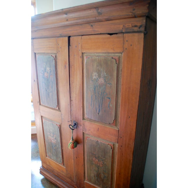 Camel Late 18th/Early 19th Century Antique Hand-Painted Armoire of European Origin For Sale - Image 8 of 9