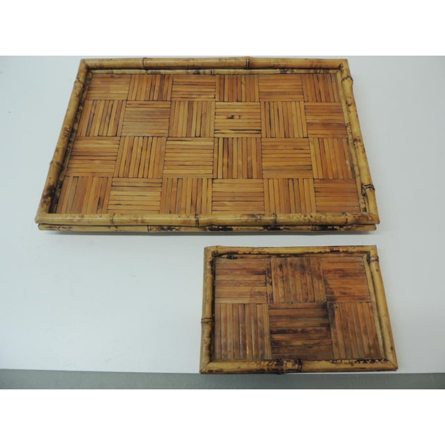 Boho Chic Set of Two Faux Tortoise Bamboo Serving Trays For Sale - Image 3 of 7