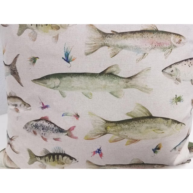 Green Fish Pillows, Made in Wales - a Pair For Sale - Image 8 of 10