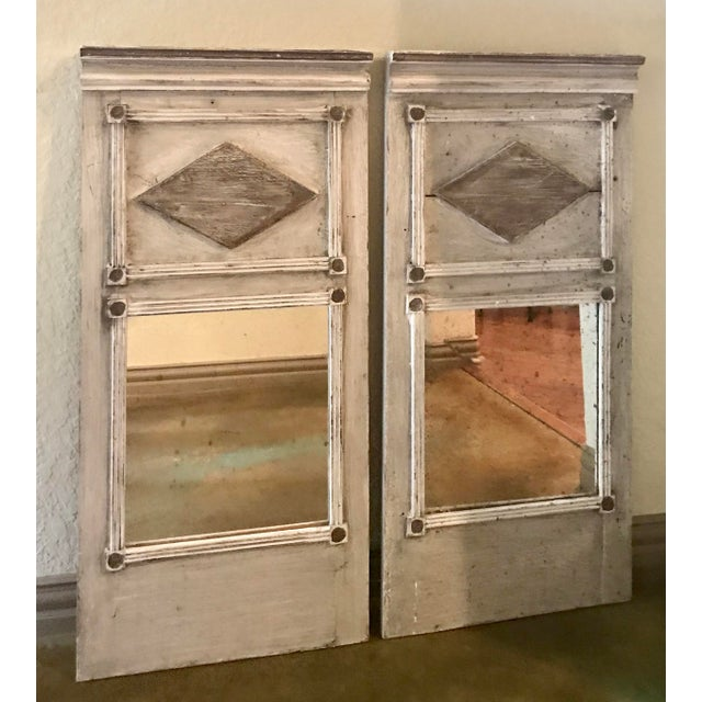 French Trumeau Style Mirrors - a Pair For Sale - Image 4 of 4