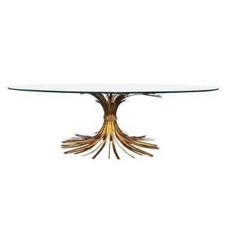 1960s Hollywood Regency Italian Sheaf of Wheat Glass Top Coffee Table For Sale