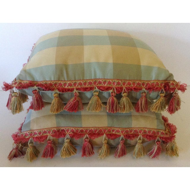 Rustic Plaid Pillows With Tassels - A Pair For Sale - Image 3 of 3