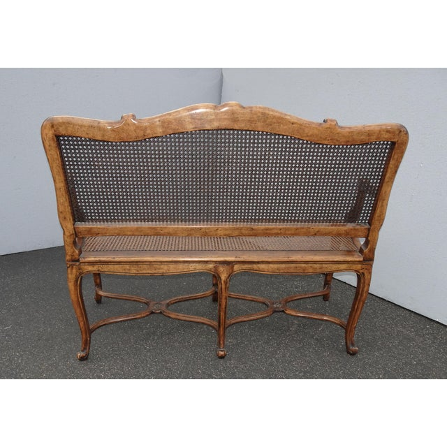 Vintage Martin of London French Country Brown Ornately Carved Cane Settee For Sale In Los Angeles - Image 6 of 13