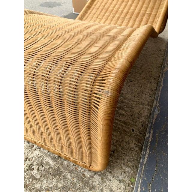 Braid rattan chaise longue lounge lounger chair a rare variant of model P3 by the designer Tito Agnoli. Nice bouclé head...