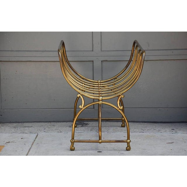 Mid Century Siegel Paris Solid Brass Fireplace Wood Rack For Sale - Image 4 of 6