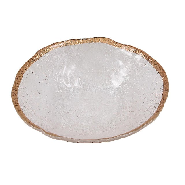 1950's Vintage 10k Gold Rim Italian Glacier Ice Art Glass Bowl For Sale - Image 4 of 6