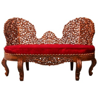 Anglo-Raj Settee With Open Back Hand Carved Tree of Life Back For Sale