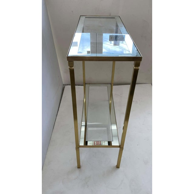 Metal Mastercraft Style Brass Console Table For Sale - Image 7 of 13