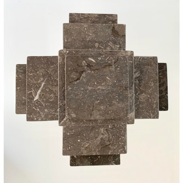 Modern Sculpture Gray Marble Cube on Stand For Sale - Image 4 of 10