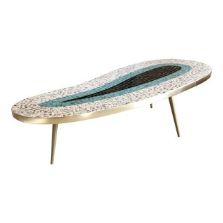 1960s Boho Chic Biomorphic Long Mosaic Tile Coffee Table For Sale