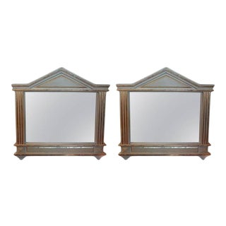 1920's Antique Italian Neoclassical Palladian Style Painted and Giltwood Mirrors-A Pair For Sale