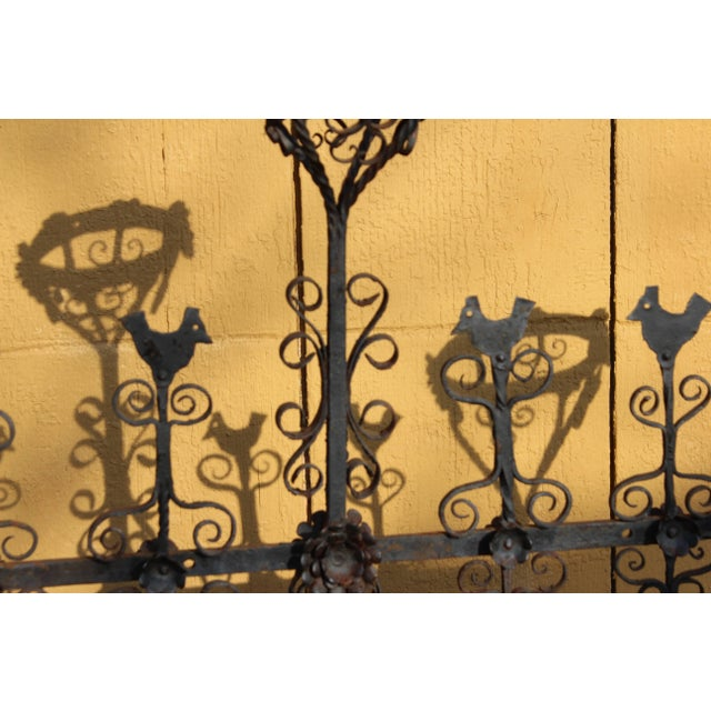 Antique Spanish Colonial Mexican Wrought Iron Yellin Fire Screen Plant Stand For Sale In New York - Image 6 of 7