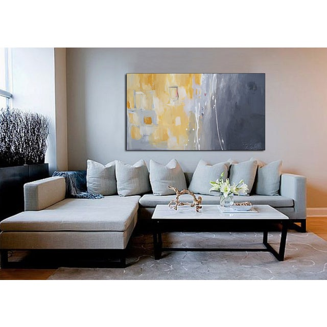 """""""50 Shades of Gray & Yellow"""" Giclee Canvas Print For Sale - Image 4 of 4"""