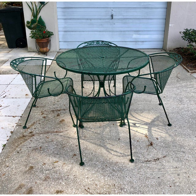 1980s Vintage Russel Woodard Style Patio Table and 4 Chairs For Sale - Image 13 of 13