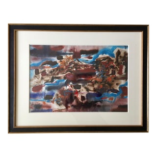 1971 Custom Framed Abstract-S.Black-Signed For Sale