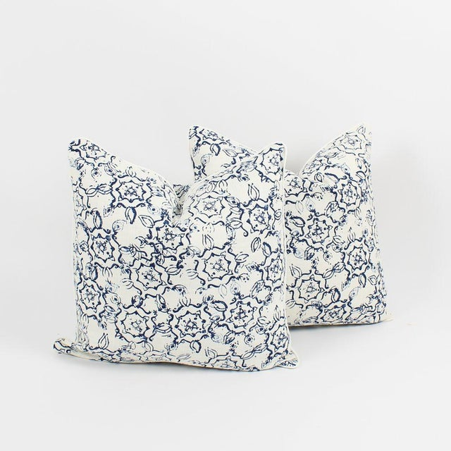 Ink Swirl Linen Pattern Pillows, a Pair For Sale In Atlanta - Image 6 of 6