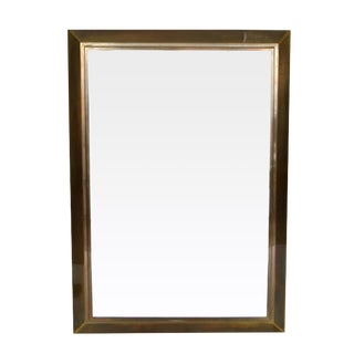 LaBarge Patinated Brass Frame With Beveled Mirror For Sale