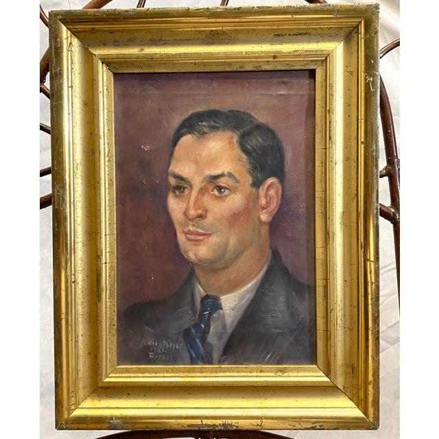 Vintage Signed Oil on Canvas Portrait of a Handsome Man Gilt Gold Frame 1942 Painting For Sale - Image 10 of 10