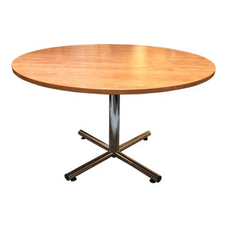 Wood, Laminate + Chrome Round Dining Table