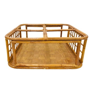 Vintage Bent Bamboo & Rattan Coffee Table For Sale