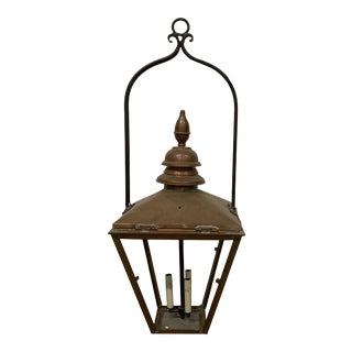 Vintage Mid-Century Copper Lantern With Yoke For Sale