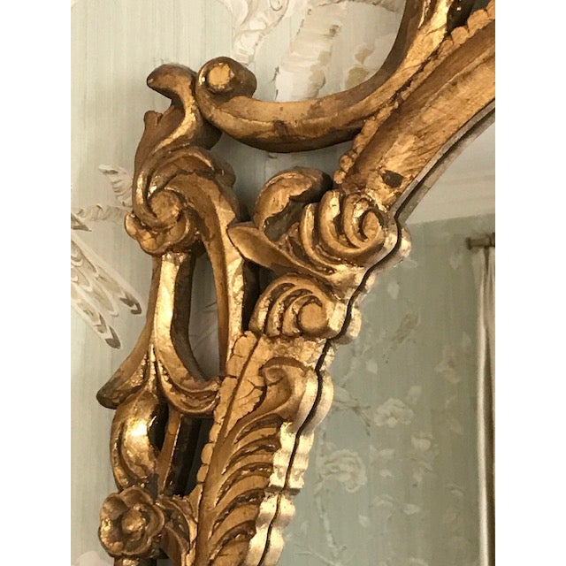Rococo Rococo Ornate Carved Gilt-Wood Mirror For Sale - Image 3 of 9