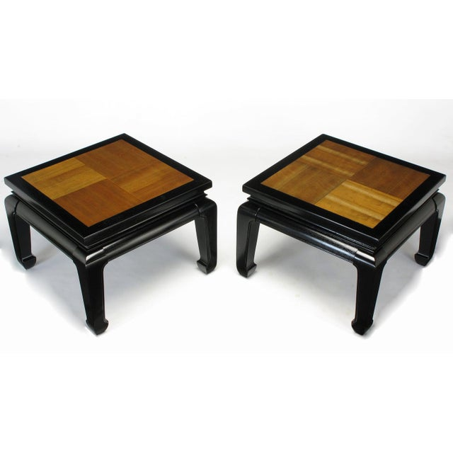 Black Pair Ming Low Tables With Parquetry Tops For Sale - Image 8 of 8