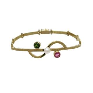 Designer 14k Gold Link Bracelet With Cultured Pearl Pink & Green Tourmaline For Sale