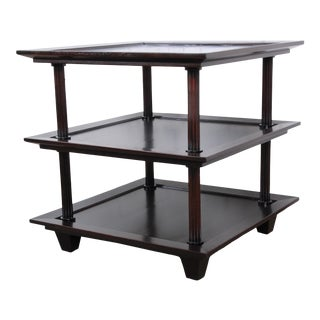 Barbara Barry for Baker Furniture Three-Tier Mahogany Occasional Table, Newly Restored For Sale