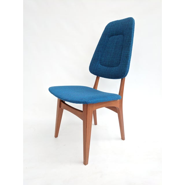 Set of ten sculptural upholstered dining chairs with teak frames by Sorheim Bruk. Made in Norway in the 1960s, these...