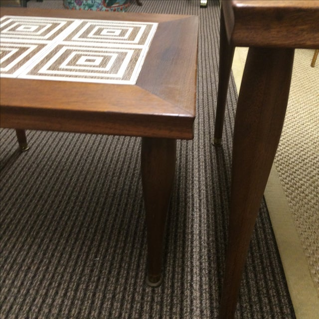 MCM Tile & Walnut Stacking Tables - Image 9 of 9
