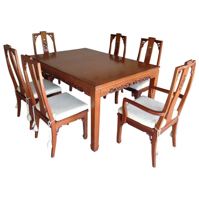 Mid-Century Style Asian Teak Dining Set For Sale