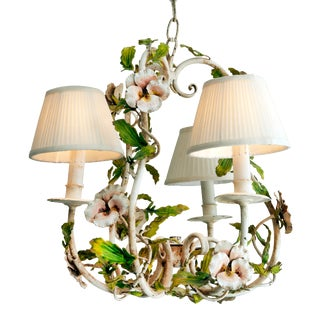 Italian Shabby Chic Floral Chandelier For Sale