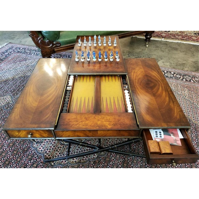 Civil War Themed Mahogany Games Table With Sword Legs For Sale - Image 4 of 13