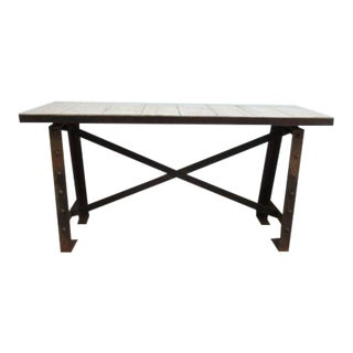 Custom Steel Industrial Reclaimed Wood Console For Sale