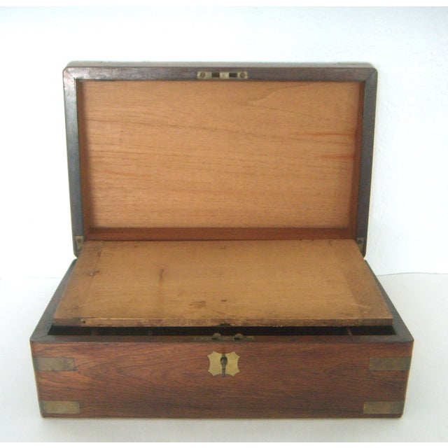 Antique English Walnut Slope Top Deed/ Writing Box For Sale - Image 7 of 10