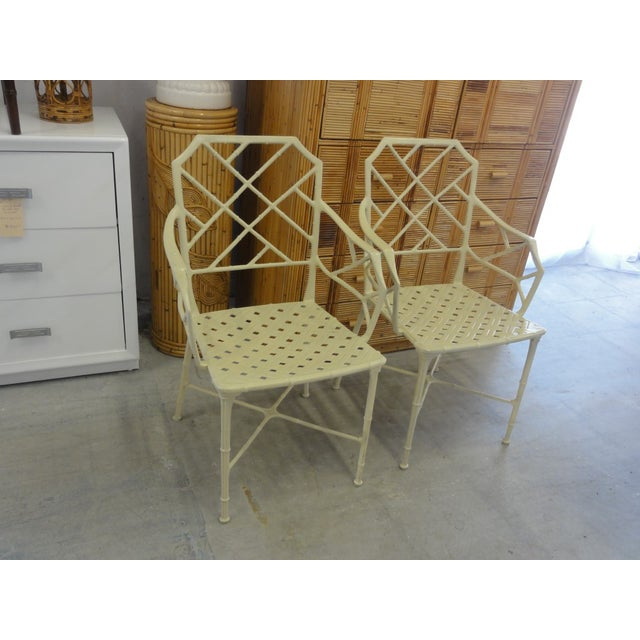 Brown Jordan Calcutta Faux Bamboo Chairs - a Pair For Sale In West Palm - Image 6 of 8