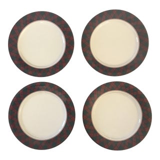 Traditional Red & Green Tartan Appetizer/Snack Plates - Set of 4 For Sale