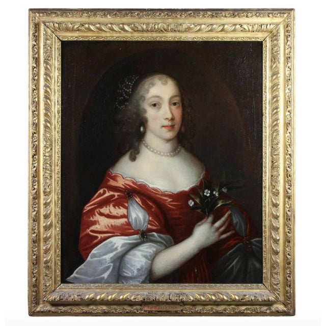 Canvas Framed Oil on Canvas of a Noblewoman Attributed to Sir Peter Lely For Sale - Image 7 of 8