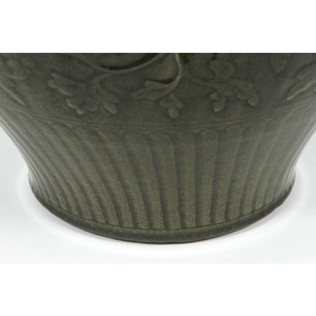 Asian Celadon Chinese Green Vase For Sale - Image 3 of 9