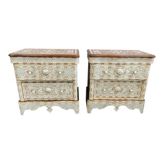 20th Century Middle Eastern White Mother of Pearl Inlay Dressers - a Pair For Sale