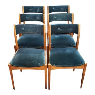 Set of Six Mid Century Teak and Upholstered Dining Chairs C.1950s For Sale