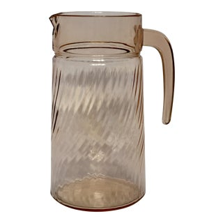 1950s Blush Pink Depression Glass Pitcher For Sale