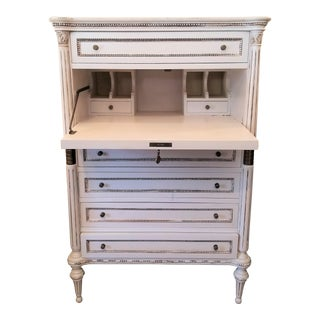 Regency White Chest of Drawers With Secretary Desk For Sale