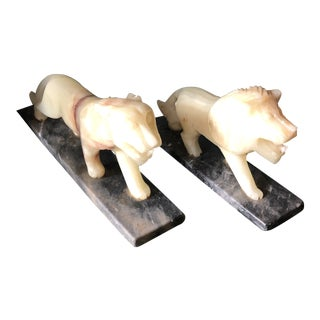 1930 Contemporary Large Onyx Lion Cheetah Bookends - a Pair For Sale