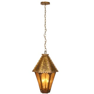 Amber Glass Brutalist Style Pendant Lantern For Sale