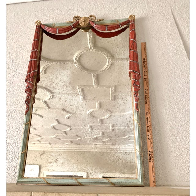 Red Early 20th Century Red Painted Drapery Swag Mirror For Sale - Image 8 of 13