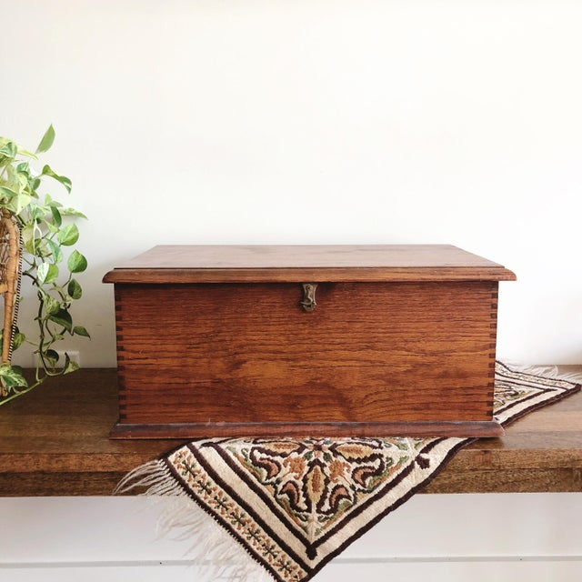 Antique Oak Desk Box With Brass Hardware For Sale - Image 10 of 10