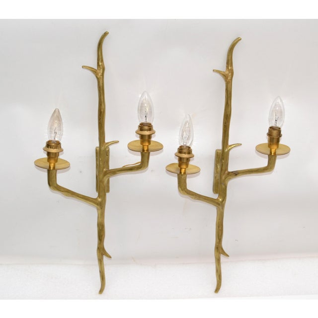 Felix Agostini Pair of Agostini Style Sconces Bronze With Black & Gold Shades, France 1950s For Sale - Image 4 of 13