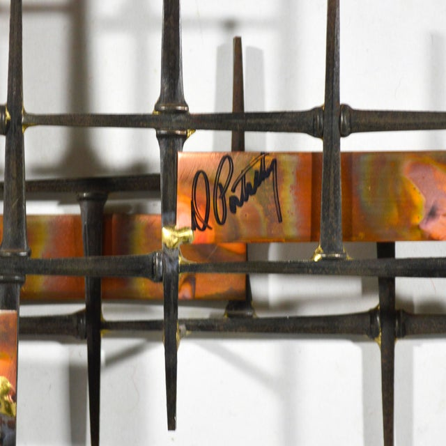Metal Abstract Wall Sculpture in Iron, Bronze & Copper For Sale - Image 7 of 9